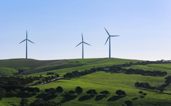 Wind farms on a hill