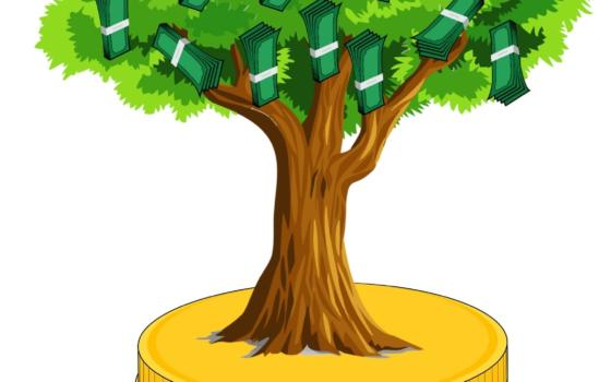 Graphic drawing of a money tree