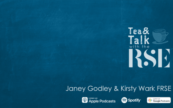 The Tea and Talk logo is on a blue background with the text 'Janey Godley & Kirsty Wark FRSE'' underneath it.