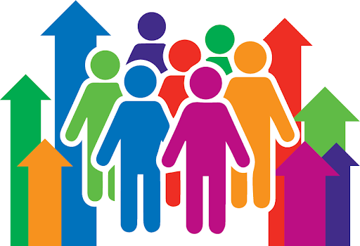 Colourful symbols of people stand together in a crowd